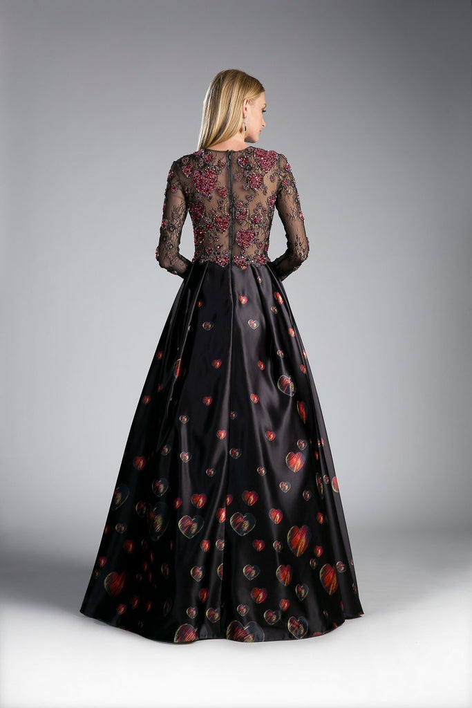 Floral Applique Beautiful Long Black Prom Dress CDC80437