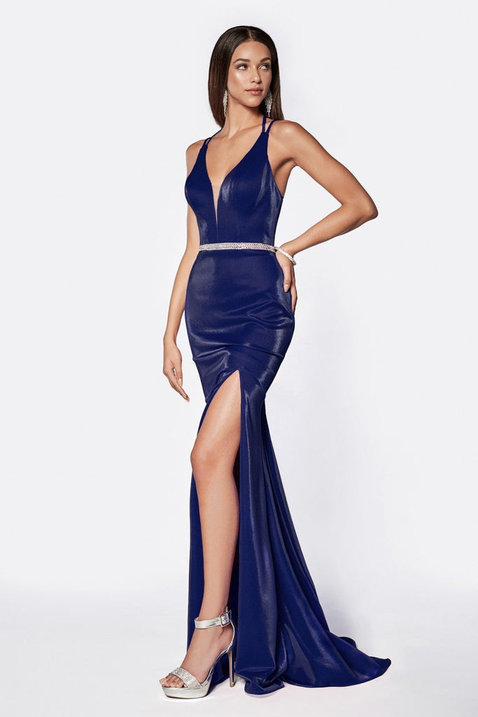 Beaded Belt V-Neckline Mermaid Long Prom Dress CDC81188