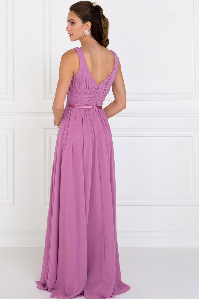 V-neck A-line Long Formal Gowns With V-back GSGL1525-Prom Dresses-alwaysprom.com