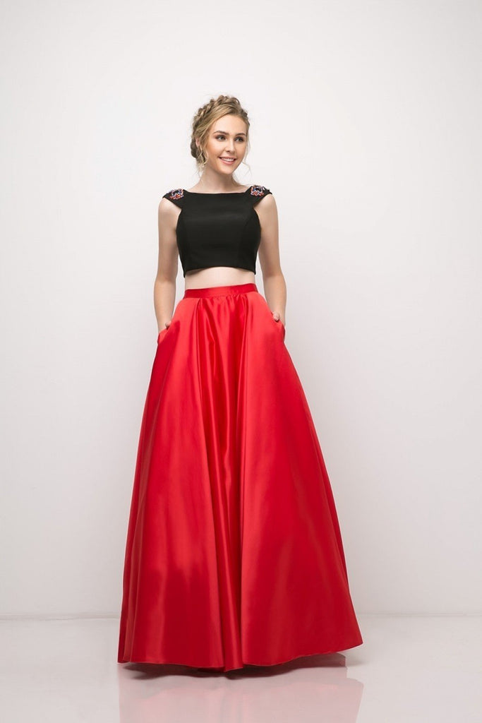 Beaded Two Piece Satin Ball/Prom Long Gown CDCA316