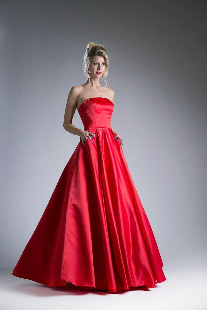 Satin Bateau Neckline Ball Long Prom Gown CDCA317