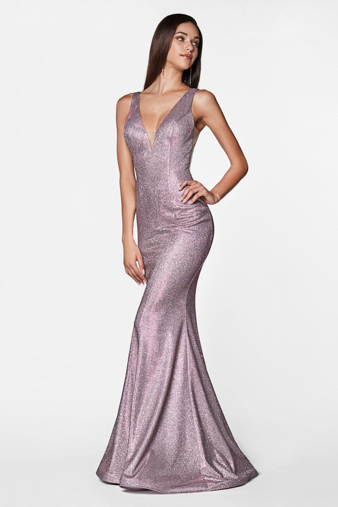 Sequined Sleeveless V-Neckline Long Prom Dress CDCB0035