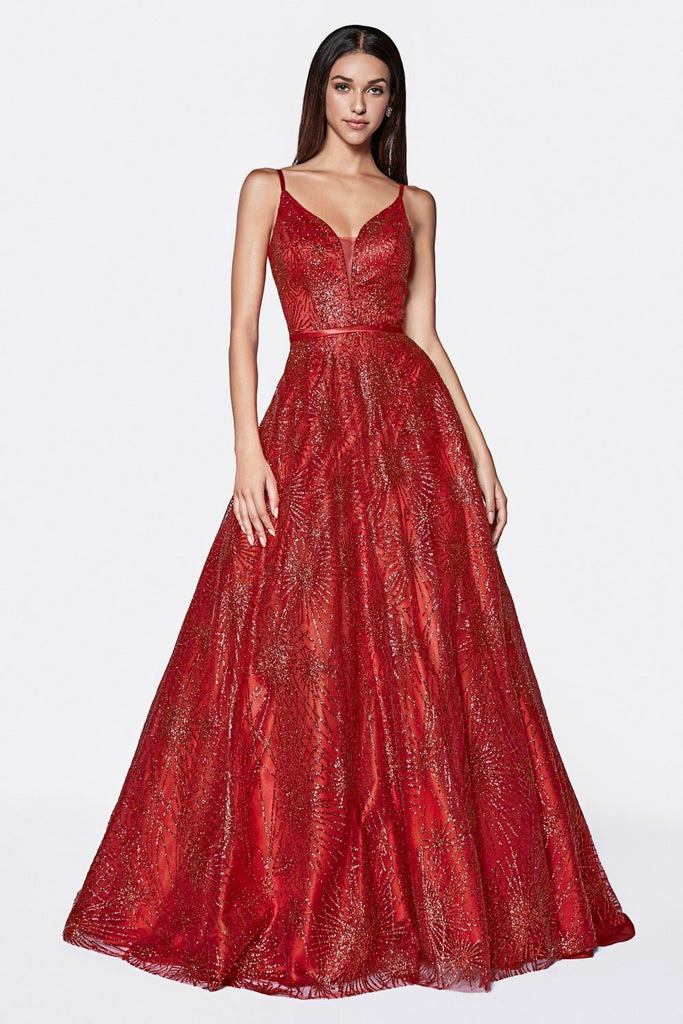 Sequined Bodice V-Nekcline Long Prom Red Dress CDCB0037