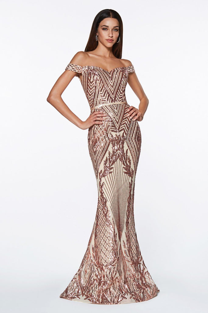 Off-Shoulder Sweetheart Patterned Long Prom Mermaid Dress CDCB0039