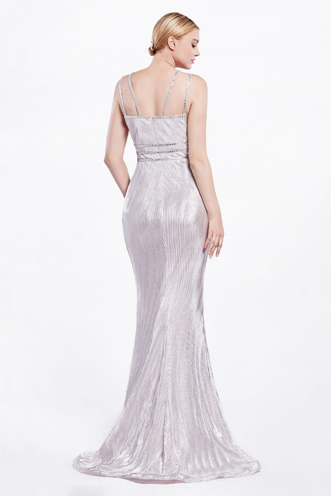 Jeweled V-Neckline Long Shiny Prom Dress CDCC1138