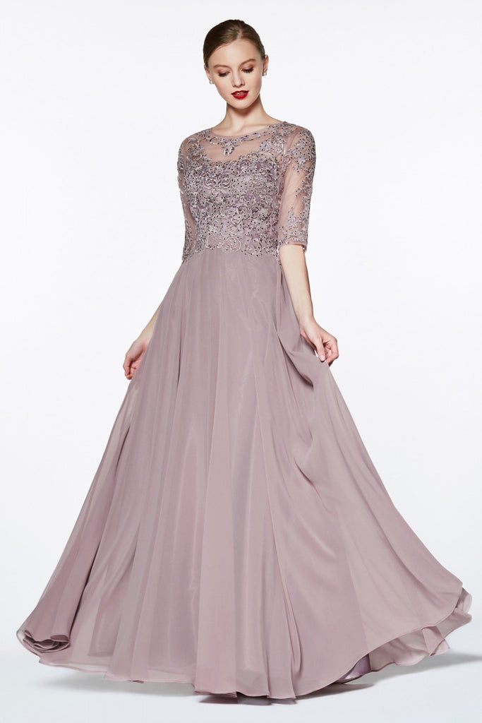 Short Sleeves Patterned Top Illusion Neckline Long Bridesmaid Dress CDCD0130