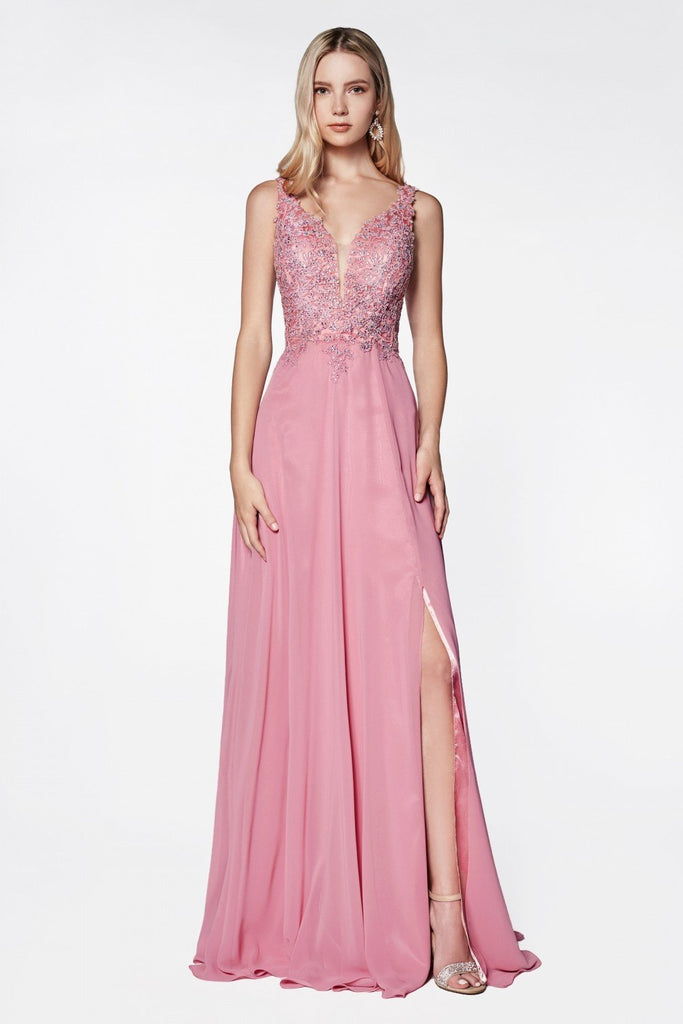 Deep V-Neckline Sleeveless Jeweled Top Long A-Line Prom Dress CDCD0133