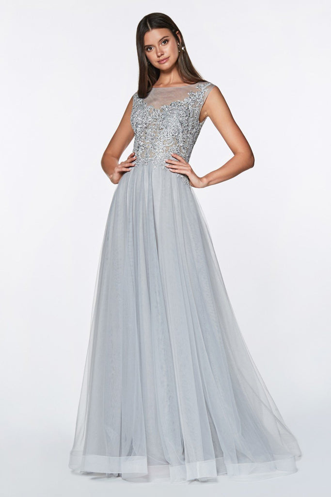 SALE Illusion Neckline Jeweled Top A-line Long Prom Dress CDCD0136