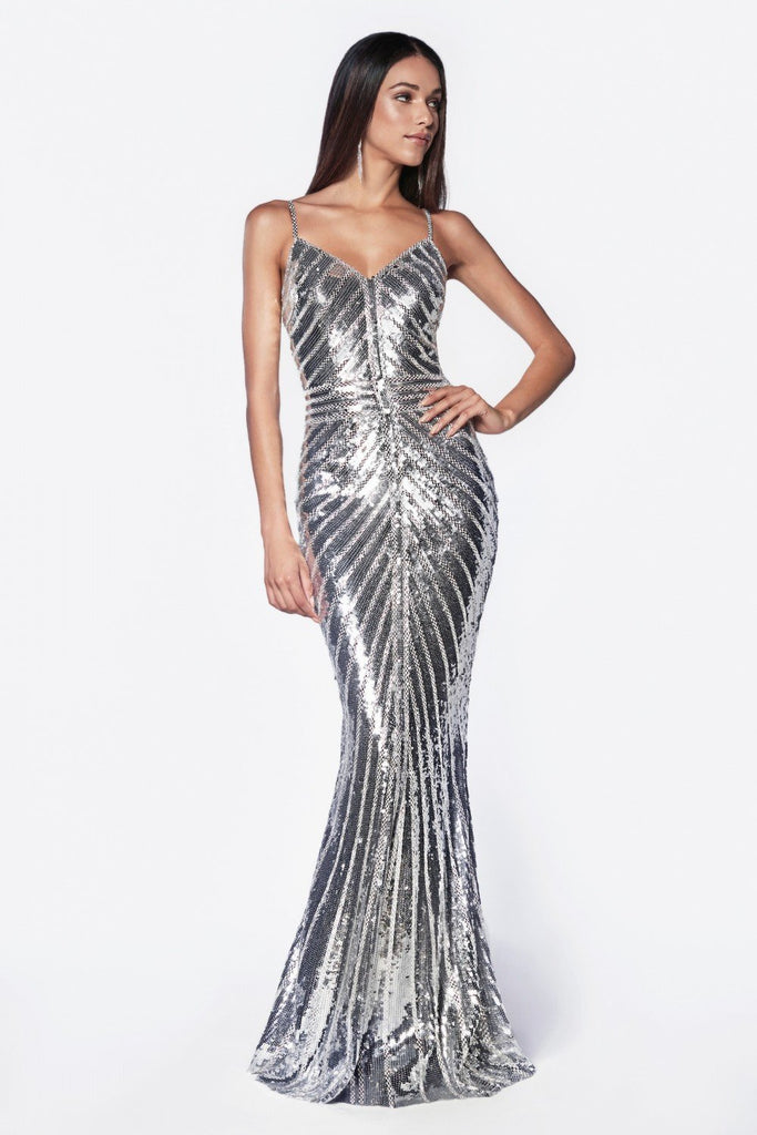 Fitted gown with metallic sequined and art deco beaded details CDCK848