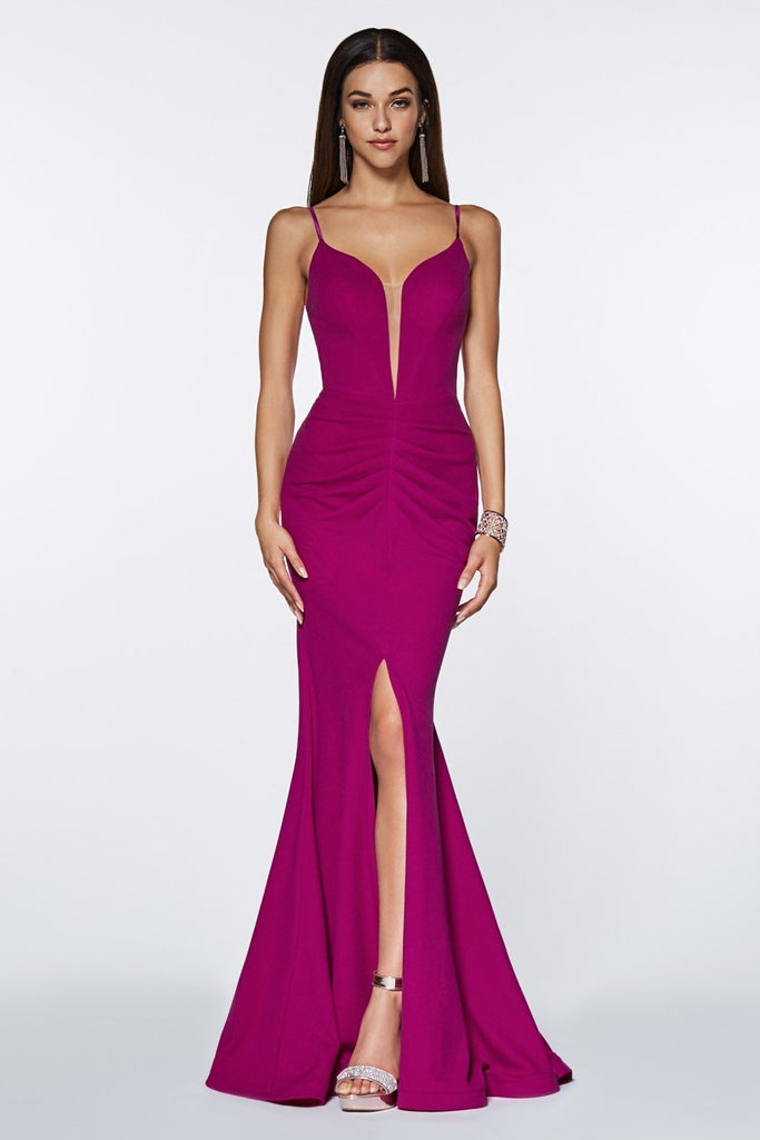 V-Neckline Sleeveless Mermaid Long Prom Dress CDCF329
