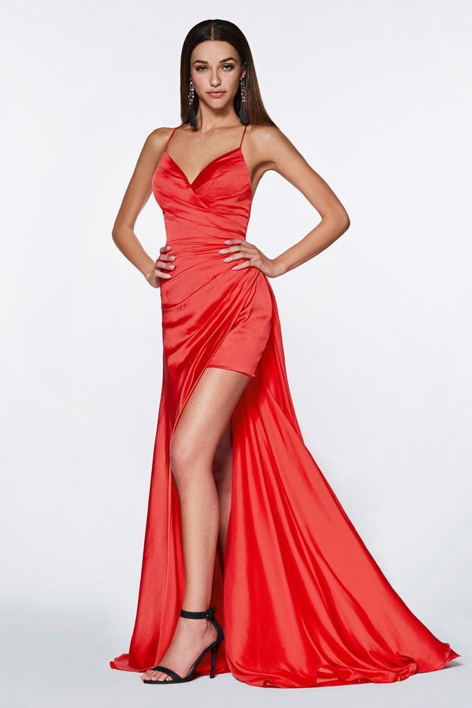 V-Neckline Sleeveless Spaghetti Strap Long Prom Dress CDCF343