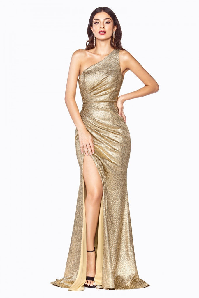 One Shoulder Leg Slit Long Prom Dress CDCH202