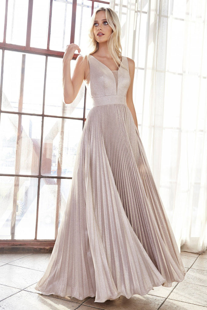 Metallic V-Neckline Pleated A-Line Long Dress CDCH211