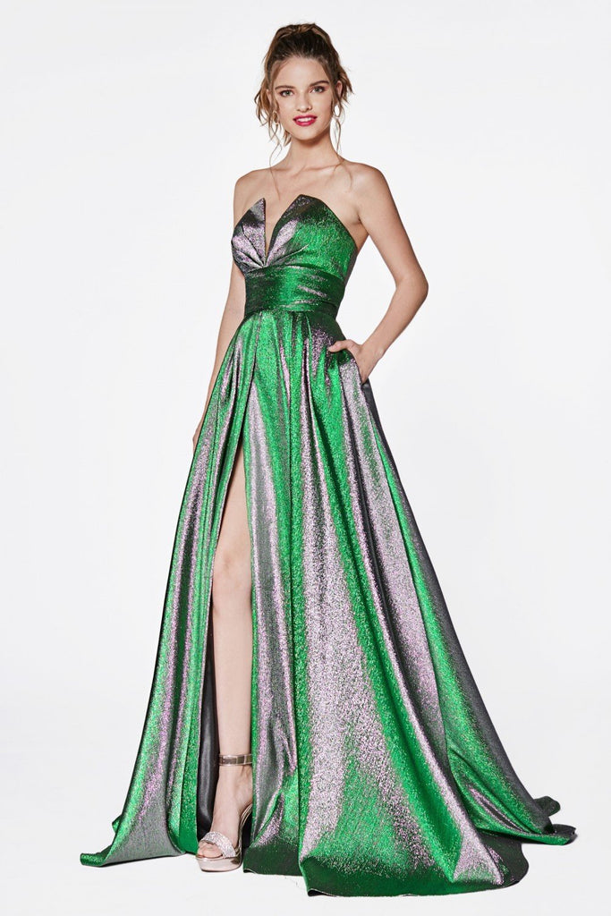 Sweetheart Neckline Strapless Metallic Long Prom Dress CDCJ519