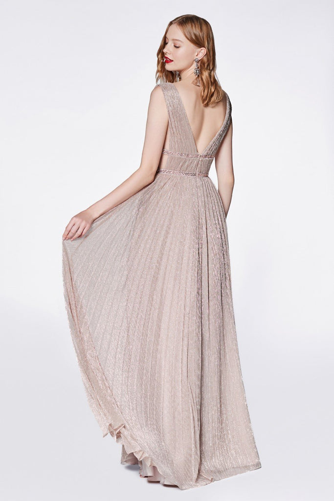 V-Neckline Sleeveless Long A-line Evening Dress CDCJ524