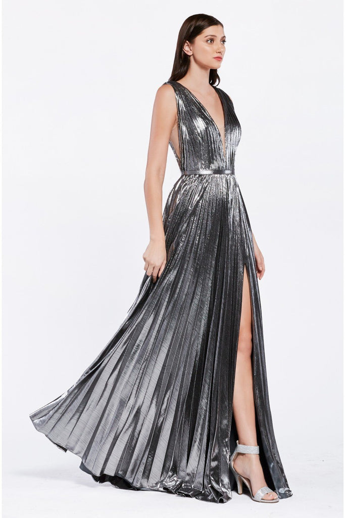 Shiny V-Neckline Sleeveles Leg Slit Long Prom Dress CDCJ529