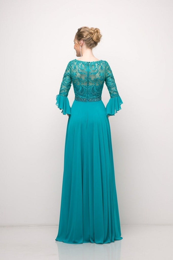 Beaded Lace Bodice Chiffon Empire Waist Long Bridesmaid Dress CDCR781
