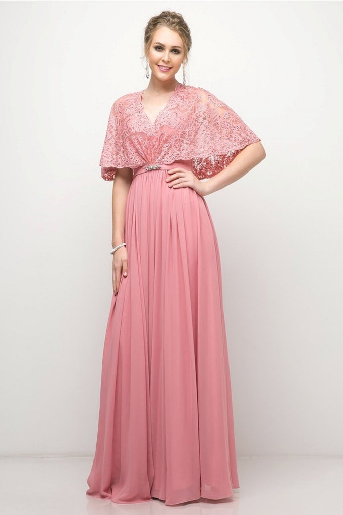 A-Line Chiffon V-Neckline Long Evening Dress CDCR786