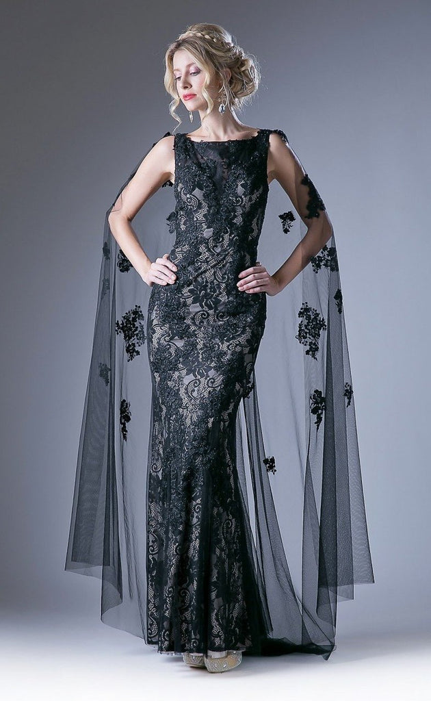 NEW Lace Sheath Long Evening Dress with Cape CDCR788