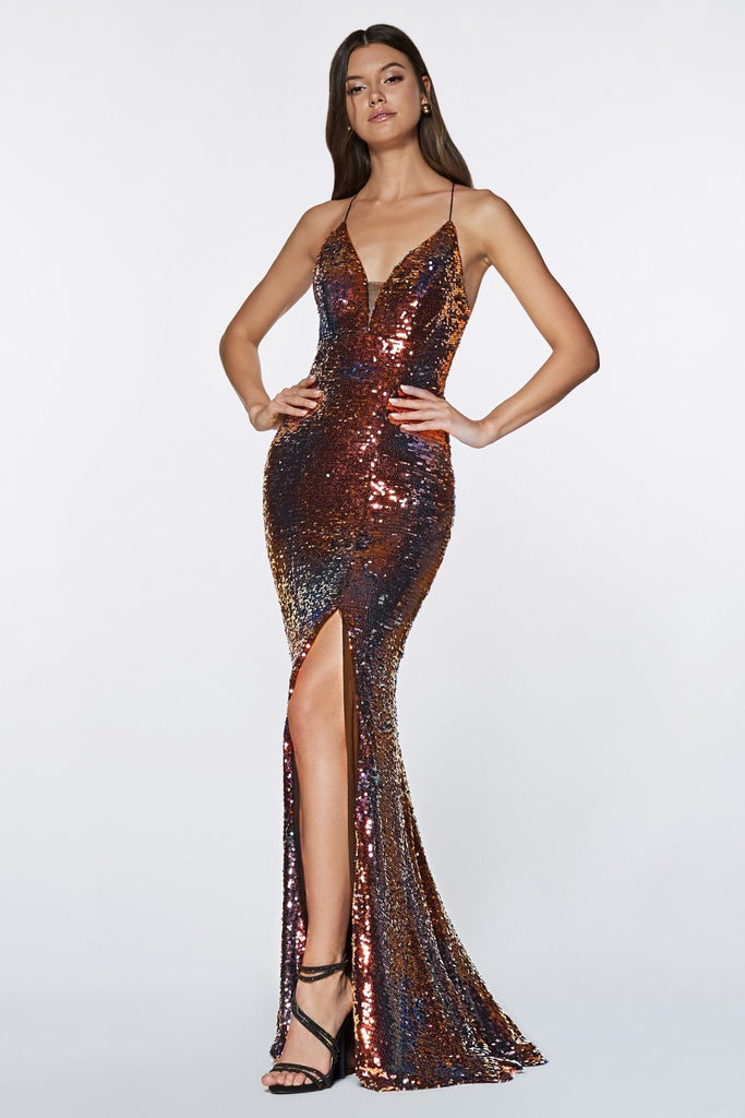 V-Neckline Sequined Long Mermaid Bright Prom Dress CDCR829
