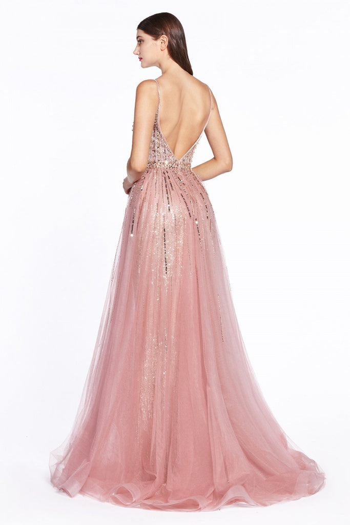Jeweled V-Neckline Long Prom Dress Plus Size CDCR841