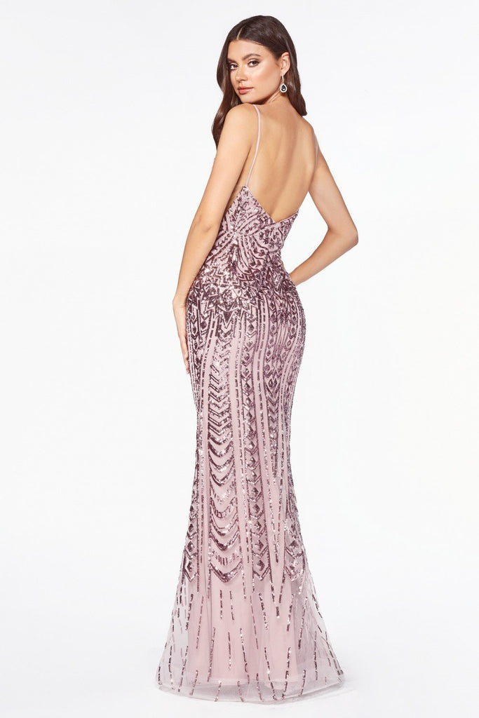 Geometric Sequin Pattern Fitted Prom Gown CDCR843
