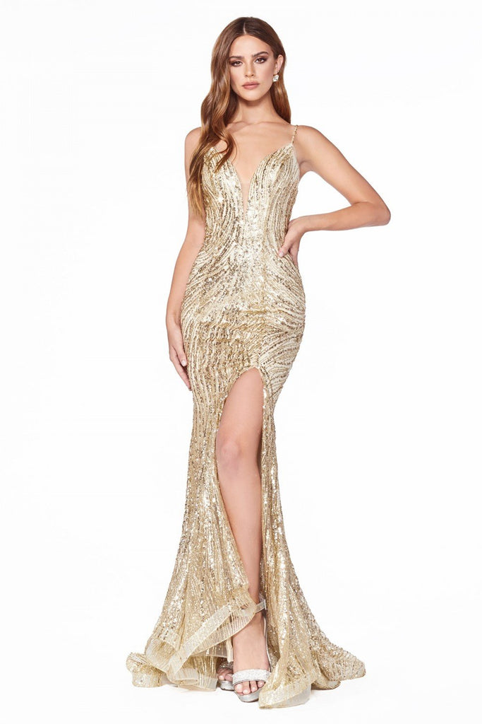 V-Neckline Mermaid Long Prom Dress CDCR844