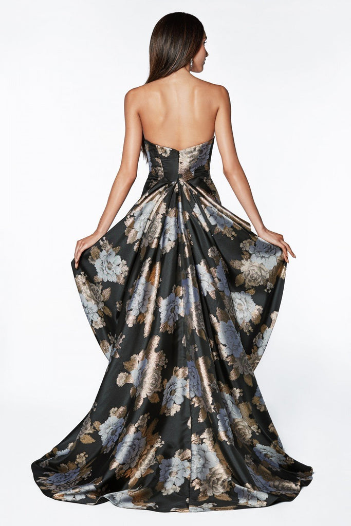 Floral Printed Sweetheart Neckline Strapless Long Evening Dress CDCS025