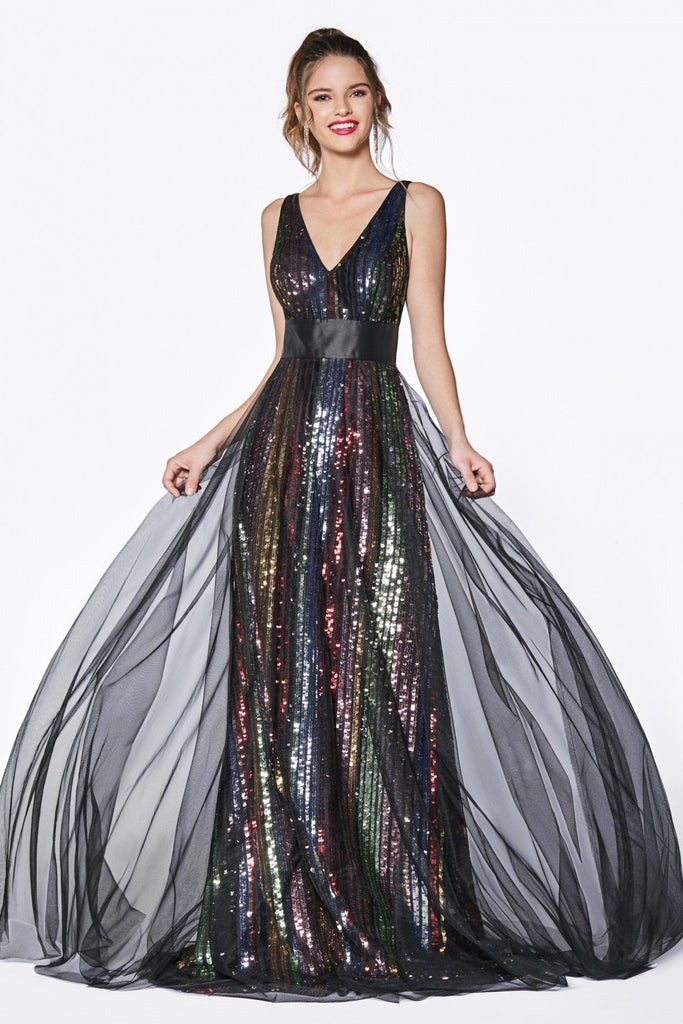 Sequined Multicolored Bodice Long Prom Dress CDCS033