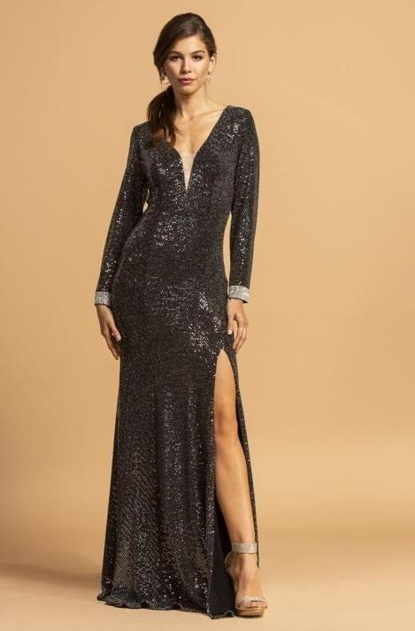 Sequined Bodice V-Neckline Long Sleeve Evening Dress APD202B