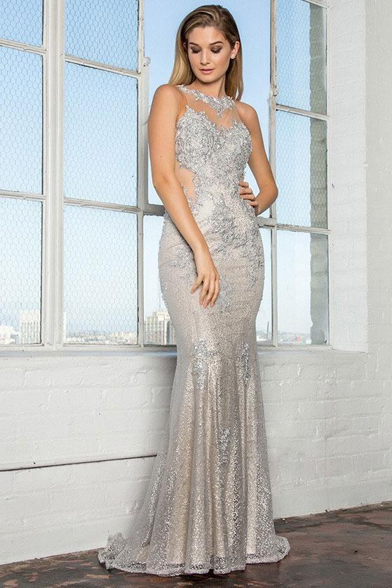 Long Cute Prom Dresses with Illusion Neckline GSGL2220-Sale-alwaysprom.com