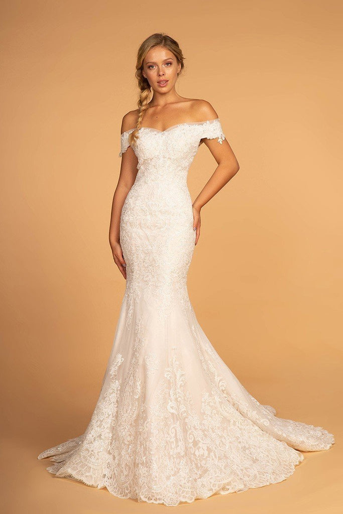 Long Mermaid Beaded Off The Shoulder Wedding Ivory Gown Dress 2019 GSGL2594-Wedding Dresses | alwaysprom.com-alwaysprom.com