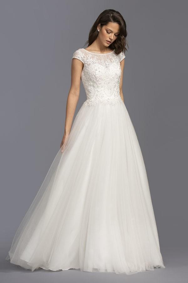 Lace Pleated Cap Sleeves A-Line Long Wedding Gown APL2249