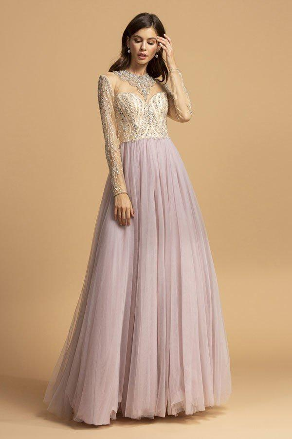 Illusion Neckline Beaded Top Long Evening Dress APL2217