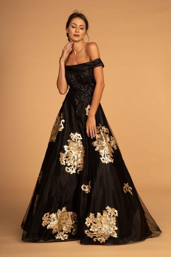 Off Shoulder Black Floral Seqined A-Line Long Dress GL2542