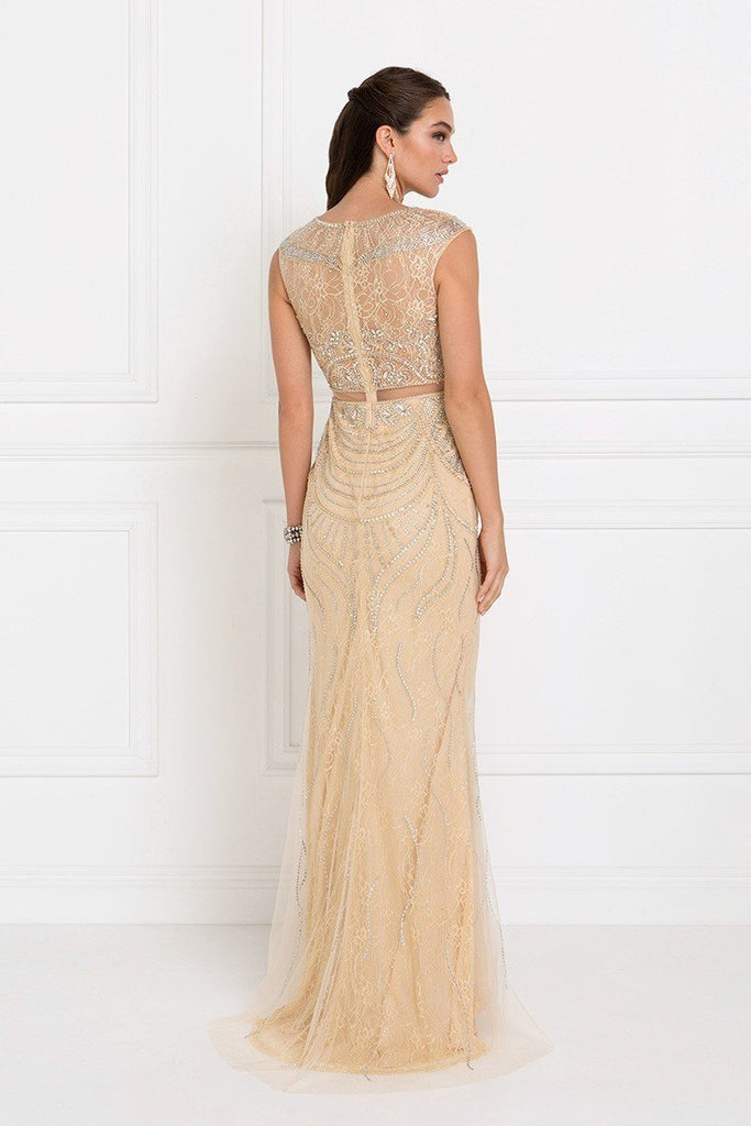 cheap Evening Fully Beaded Gorgeouse Formal Champagne Sheath Dress GSGL1503-Evening Dresses | alwaysprom.com-alwaysprom.com