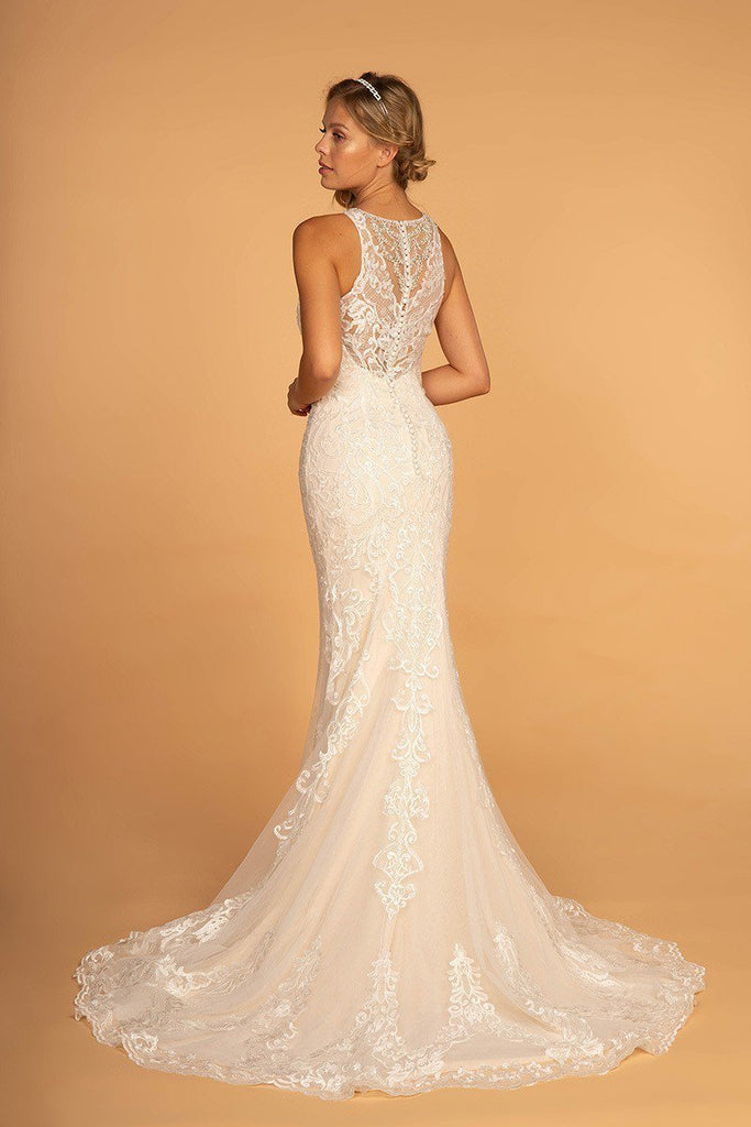 cheap Long Sheath Beaded Lace Wedding Ivory Gown Dress GSGL2597-Wedding Dresses | alwaysprom.com-alwaysprom.com