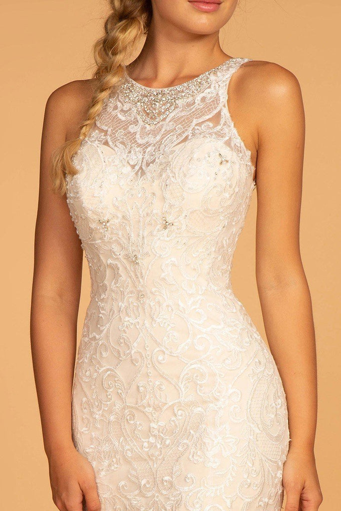 Long Sheath Beaded Lace Wedding Ivory Gown Dress GSGL2597-Wedding Dresses | Smcfashion.com-smcfashion.com