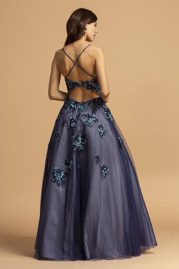 Spaghetti Straps Floral Beaded Long Prom Dress APL2216