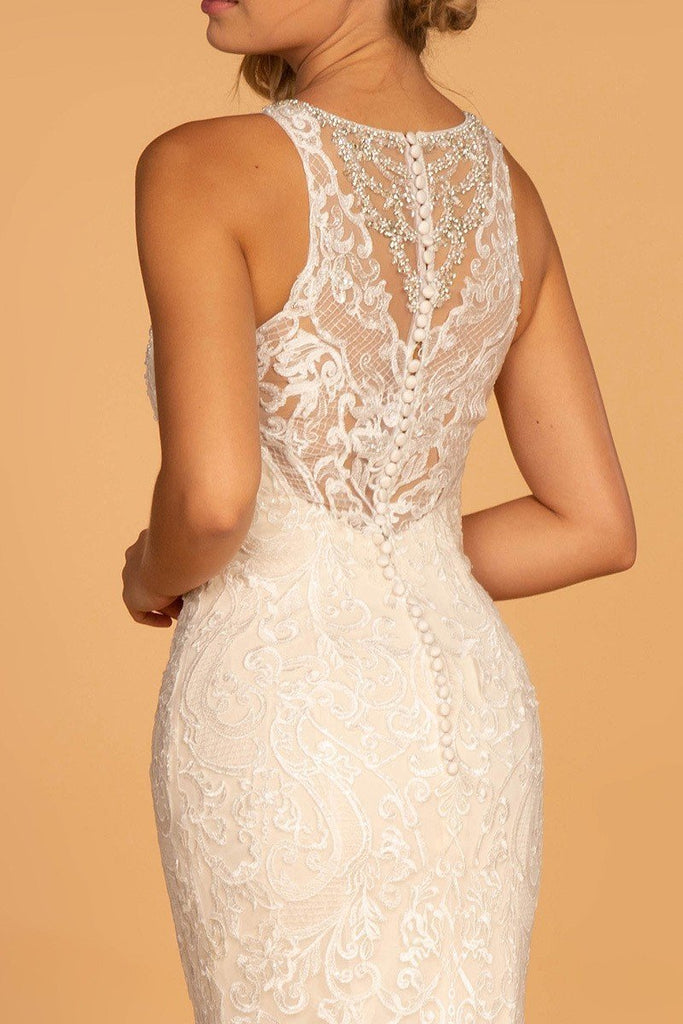 Affordable Long Sheath Beaded Lace Wedding Ivory Gown Dress GSGL2597-Wedding Dresses | Smcfashion.com-smcfashion.com
