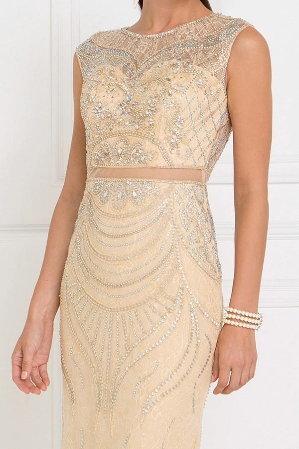 Wholesale Evening Fully Beaded Gorgeouse Formal Champagne Sheath Dress GSGL1503-Evening Dresses | alwaysprom.com-alwaysprom.com