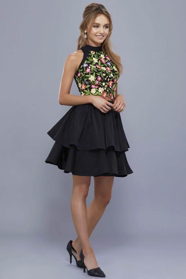 High Neckline Floral Top Short Party Dress NX6342