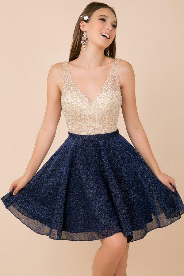 Fully Beaded Waist Short Homecoming Dress NXY692