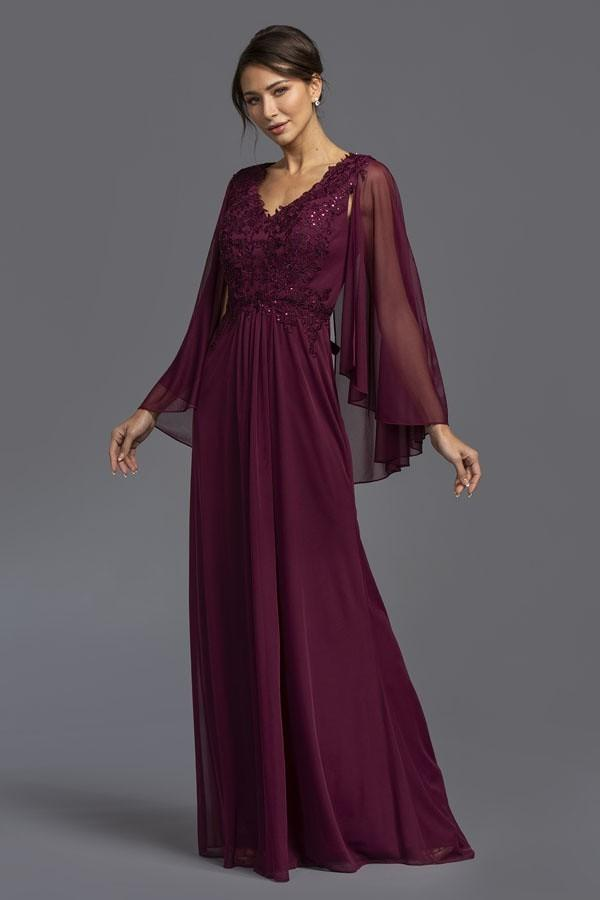 V-Neckline Long Sleeve Jeweled Long Evening Dress APM2077