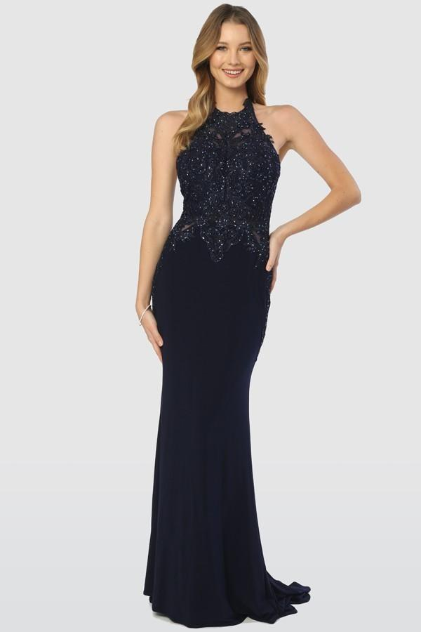 Halter Neckline Sleeveless Beaded Waist Long Evening Dress NXA175