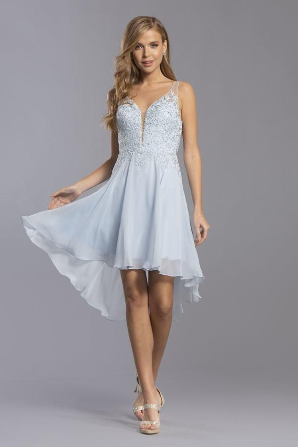 Sleeveless V-Neckline Jeweled Short Homecoming Dress APS2336