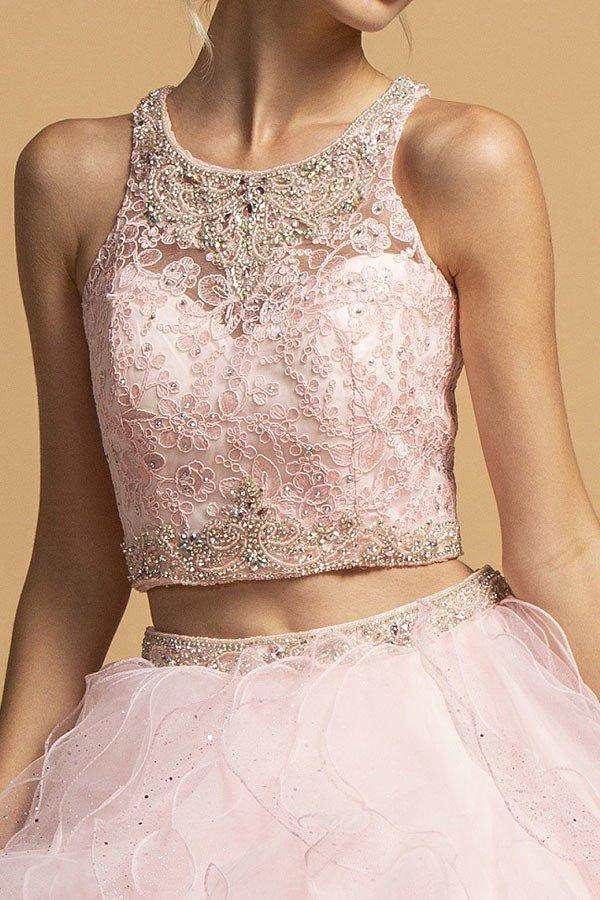 High Neckline Sleeveless Two Piece Ballgown Prom Dress APL2272