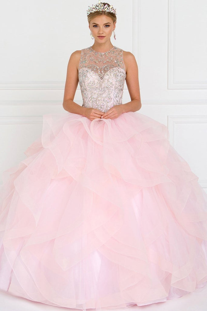 Illusion Long Ball Gown With Jewels GSGL1553-Long Dresses-alwaysprom.com