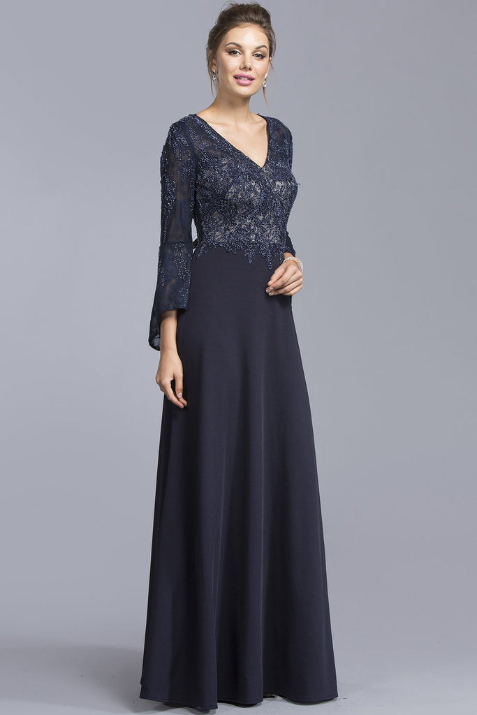 V-neck A-line Cute Long Gowns With Long Sleeves APM1924-Prom Dresses-alwaysprom.com
