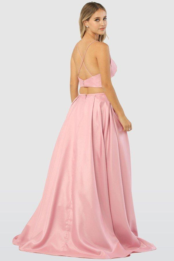 V-Neckline Sleeveless Two Piece Long Prom Dress NXE161